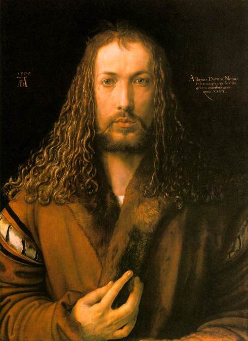 "Dürer's ""Praying Hands"" are very famous, but this is what he looked like to himself; a self-portrait at age 28."