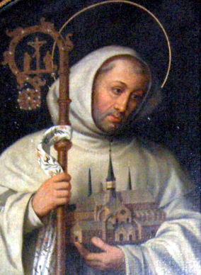 Bernard, a charismatic leader, was born near Dijon, France, the son of a knight and landowner. At 23 he entered a Benedictine abbey. Two years later he talked four of his brothers and 26 friends into helping him establish a Cistercian abbey at Clairvaux, from which grew 60 more Cistercian communities. (artist unknown)