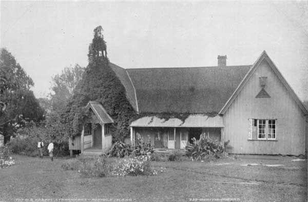 Bishop Patteson's house and chapel on Norfolk Island. He was killed on Napaku in the Santa Cruz group. After his death, Bishop George Augustus Selwyn, first Bishop of New Zealand who had called Patteson from England to join him,  helped reconcile the Melanesian natives to the memory of one who came to help, not to hurt.