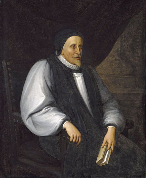 """Lancelot Andrewes, Bishop of Winchester, was the general editor of the Authorized King James Bible, a favorite of King James II/VII, and a high Churchman known for his """"Private Devotions,"""" which were widely published 200 years later by leaders of the Oxford Movement. (artist unknown)"""