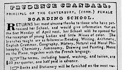 Ms. Crandall advertised for students in The Liberator, a leading abolitionist newspaper, in 1833. Racial integration was part of her curriculum and plan.