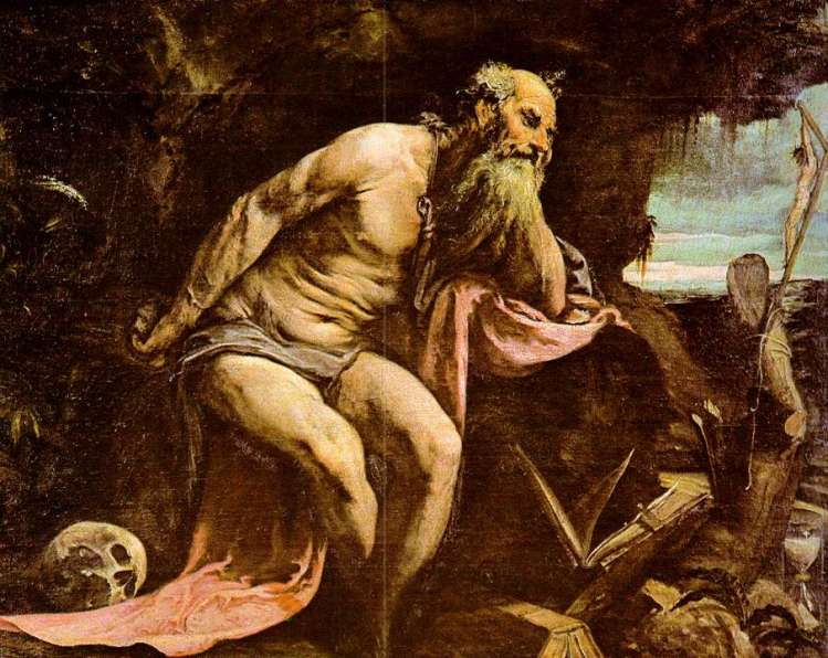 Jacopo Bassano, 1556: St. Jerome. He was the foremost Biblical scholar of the ancient Church; the Latin Vulgate is his translation. He was a student of St. Gregory of Nazianzus at Constantinople, and later secretary to Pope Damasus I, who put him to the task of translating the Scriptures. When he finished, he returned to the East, established a monastery at Bethlehem, and is buried in a chapel under the Church of the Holy Nativity.