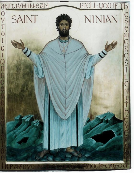 Ninian was a bishop and monk who evangelized many of the Picts of northern Scotland. He was a disciple of St. Martin of Tours and is said to have been ordained in Rome, thus strengthening the links between Celtic Christianity and the Anglo-Roman version that eventually suppressed it. (iconographer unknown)