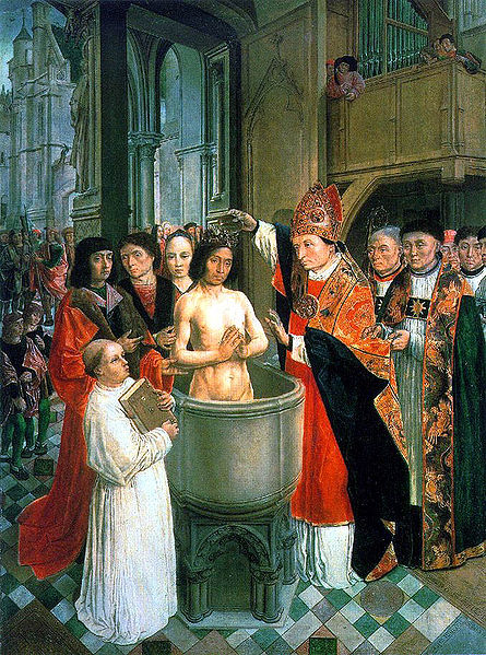 The Master of St. Gilles: St. Remigius Baptizes Clovis. Clovis was the king of the Franks, and his decision to be baptized in the catholic religion had several effects; it helped put an end to the Arian heresy promoted by Germanic rulers, strengthened French independence and assisted Gregory the Great in his evangelistic efforts with the English - Canterbury and all that.