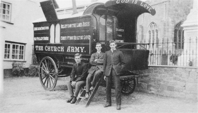 Church Army officers lived in these caravan wagons as they moved about the countryside, scandalizing the Establishment by bold advertising, loud street music and generally kicking up a ruckus for Christ. (source unknown)