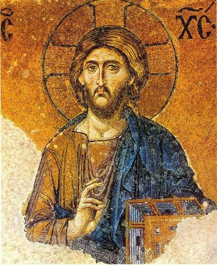 Christ Pantokrator mosaic in the Hagia Sophia museum, Istanbul. Pantokrator is a translation from Hebrew to Greek for one of the many names of the Father; thus Christ Pantokrator identifies them as one.