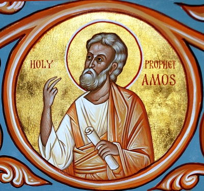 """Amos, a Judean farmer in the 8th century B.C., denounced the lavish wealth of Israel in vivid language, bitterly describing the decadent opulence, immorality and smug piety of elites who """"trampled the head of the poor into the dust of the earth."""" Years ago in Church Army training, Amos was our introduction to the Old Testament. (iconographer unknown)"""