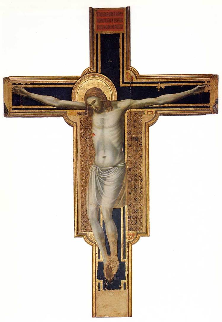 """My beloved Grandmother and I once had a disagreement about whether Christ's body should be depicted on the Cross. She said no, """"We believe that he rose from the dead."""" I said yes, """"How do you think he took away our sins?"""" I still think I was right, but God forgive know-it-all kids. (Giotto di Bondone)"""