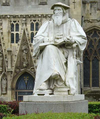 """Richard Hooker statue at Exeter Cathedral, England. He is most famous for basing his theology on the """"three-legged stool"""" of Scripture, Tradition and Reason. Including logic in our understanding of God enables Anglicans to embrace the discoveries of science, ongoing revelation and cultural development in our understanding of justice and mercy. (Wikipedia)"""