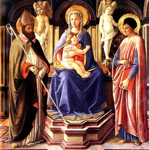 Virgin and Child with Saints Clement and Justin. Clement was the third Bishop of Rome. (Master of the Castello Nativity, 1449-50)