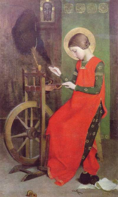 Marianne Stokes, 1895: St. Elizabeth of Hungary Spinning for the Poor. She did what Jesus told the wealthy to do, selling her jewels amidst famine and plague to found a hospital for the poor in 1226.