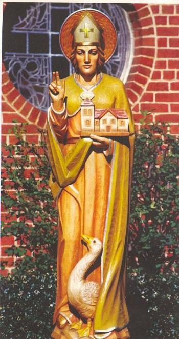 "St. Hugh, a French Carthusian monk, was invited by England's Henry II to establish a new abbey in Somerset, as part of the king's effort to atone for his role in the murder of Thomas Becket. Hugh became bishop in 1186 and was known for his devotion to the poor and his cheerful disposition. James Kiefer called him ""Protector of the Oppressed."" (source unknown)"