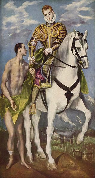 El Greco, c .1599: Martin and the Beggar. While just a catechumen the saint used his sword to slice his military cloak in half to clothe the man. Later Martin established a monastery near Tours which heavily influenced Celtic monasticism. He was reluctant to accept election as Bishop and insisted on keeping to his ascetic way of life.