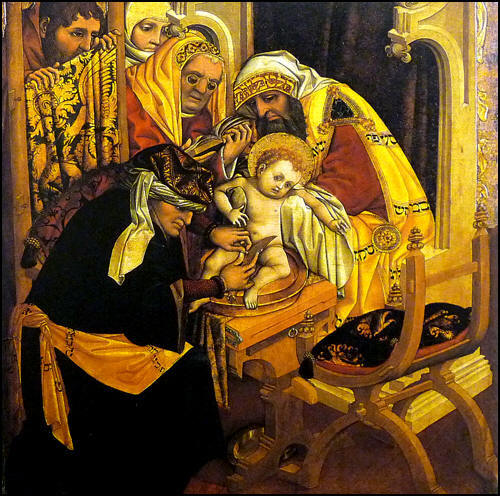 Rembrandt: Circumcision. Jesus received his bris (and thus his name) 8 days after his birth, according to Jewish custom.