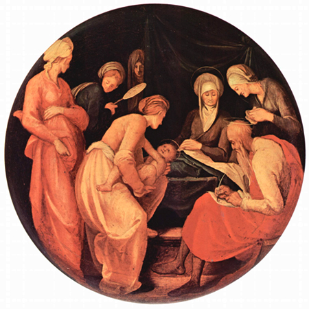Jacopo Pontormo: Nativity of John the Baptist, with his father Zechariah writing something down.