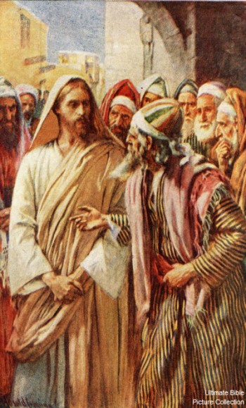 Jesus Confronted by Sadducees. (Bible Pictures)