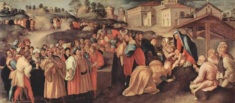Jacopo Pontormo: Adoration of the Magi. The lesson of this busy scene is that it wasn't just the Magi who visited Christ, but through them the whole Gentile world.