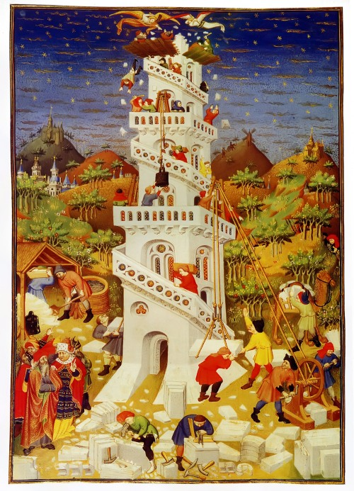Building the Tower of Babel. (Bedford Book of Hours, c. 1423)