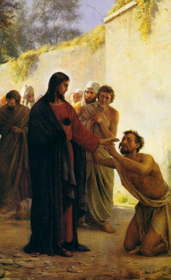 Stories about Christ's miraculous power can be difficult for modern minds. We've all heard of cases where someone dies despite a whole community's prayers; yet it's hard to find a recovering addict who won't tell you the Higher Power saved them from certain death. (artist unknown)