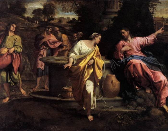 Carracci: Christ and the Samaritan Woman. Jews despised Samaritans and avoided all contact with women, but he stayed with them two whole days.