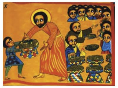 The feeding of the 5000 is the only miracle of Jesus recorded in all four Gospel accounts. The feast is seen as a replacement for the Passover; the leftovers are gathered at his command and fill 12 baskets, the same number as the months of the year (and the apostles). This Ethiopian icon is the only one I've found that shows the boy's role; he offers seven foodstuffs.