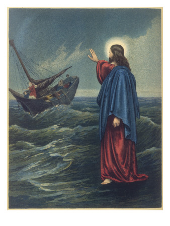 In John's account of Jesus walking on the water, the incident is tied to yesterday's feeding of the 5000. (artist unknown)