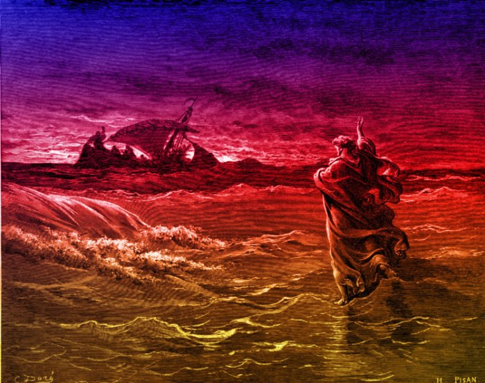 Jesus walks on water: colorized version of a woodcut by Gustave Doré, engraved by Pisan, 1866