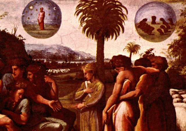Raphael: Joseph's Dreams, showing the sun and moon in the upper left and the sheaves bowing down, upper right. (Vatican Museums)