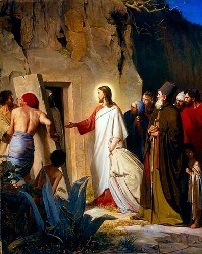 Carl Heinrich Bloch, 1875: The Raising of Lazarus. Some believe that Lazarus, not St. John the Evangelist, was the disciple Jesus loved.