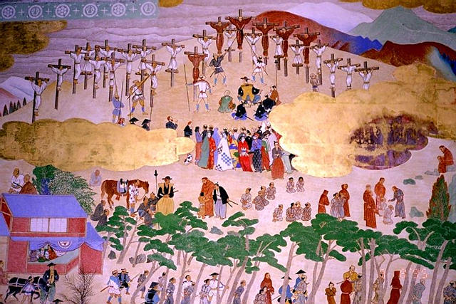The reasons for persecution of Christians in Japan are complex, but Emperor Tagosama feared that missionaries and converts were stalking horses for European conquerors to subjugate Japan. The first 26 victims, 24 men and two boys, were crucified.