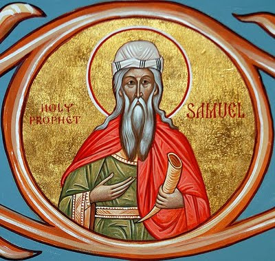 Samuel was the last of Israel's judges, a prophet who anointed the first two kings: Saul, an unjust failure, and David, a flawed but righteous success. (iconographer unknown)