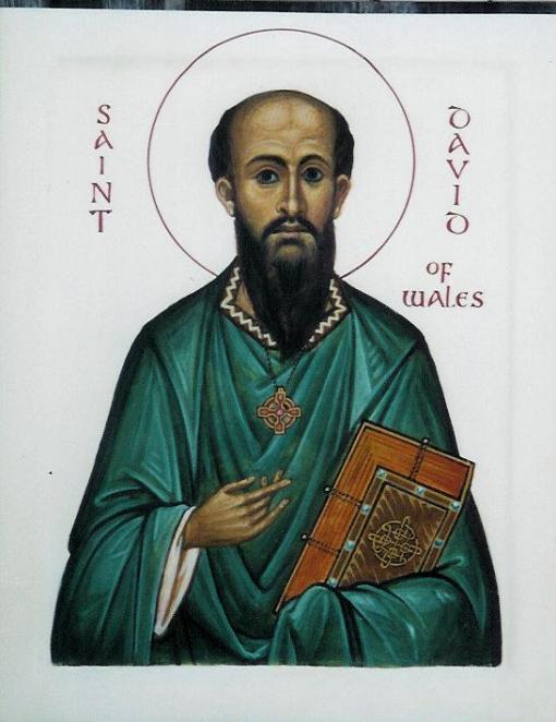 When the pagan Angles, Saxons and Jutes successfully invaded Britain in the 5th century, there was one place they didn't conquer: Wales, where Christianity lived on. David had founded a monastery at Menevia and become its abbot; despite his wishes he was eventually elected bishop, then Primate of Wales. His hometown, still a see city, is now called Ty-Dewi, the House of David. (Aidan Hart)