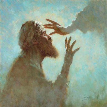 Bartimaeus; artist unknown. So much art focuses on Christ's act of healing, but this work fastens instead on what it was like, or is like, to receive his touch. Marvelous!