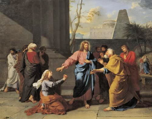 Jesus and the Syro-phoenician woman. She famously begged for the crumbs under the children of Israel's table - and he gladly healed her daughter. (artist unknown)