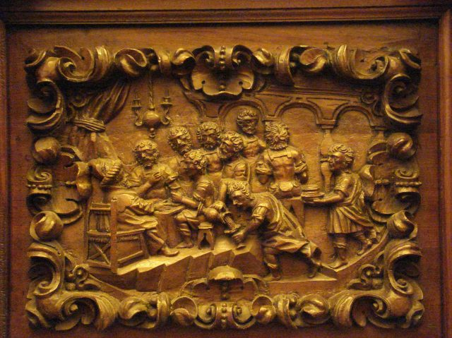 Workshop of Salvador de Campo, 1700-01: Joseph Dines with His Brothers, carving on choir stalls at Old St. Augustine Church, Mexico City. (Click to enlarge.)