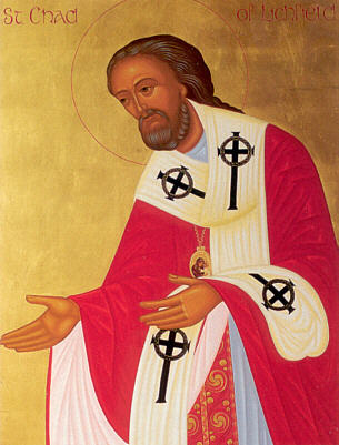 Chad, a modest, holy monk, was appointed Bishop of York by the King of England, but irregularly ordained. A new Archbishop of Canterbury arrived and objected that canon law wasn't followed, and Chad resigned on the spot - but the archbishop, impressed, reordained him and appointed him Bishop of Mercia and Northumberland instead. He used to visit all his parishes on foot until finally the exasperated archbishop put him on a horse and made him ride. Chad was a humble man. As a bishop he had a proper house in Lichfield, but he preferred to study and meditate in his little cottage nearby. (artist unknown)