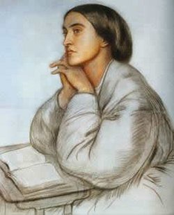 Christina Rossetti, by her brother Dante. Her entry in Holy Women, Holy Men, the Episcopal Church's book of saints, is the most concise yet sweeping overview of her life and times: 19th century Britain, a period of rapid industrialization, the creation of a new middle class, the abandonment of the countryside, the squalor of urban slums - and cultural, religious and artistic reactions, including nostalgia for the way things were. Dante Rossetti started a Pre-Raphaelite Brotherhood; Christina wrote 500 devotional poems on the sacramental things of the earth: bread, oil, water, wine.