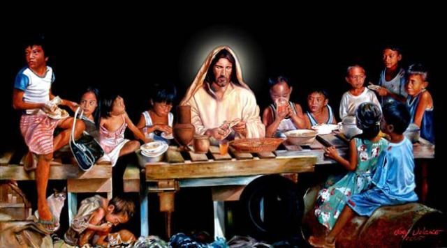 Joey Velasco: Table of Hope. The artist met these hungry children in Manila and Quezon City, the Philippines, fed them, took their photographs, then painted them into his Last Supper. These kids, he said, were all so hungry that a day's bowl of rice wouldn't do.