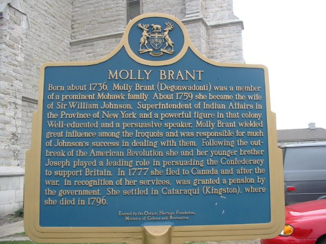 Historical marker for Molly Brant at St. Paul's Anglican Church, Kingston, Ontario, which she co-founded as the wife of the former British superintendent for North Indian Affairs.