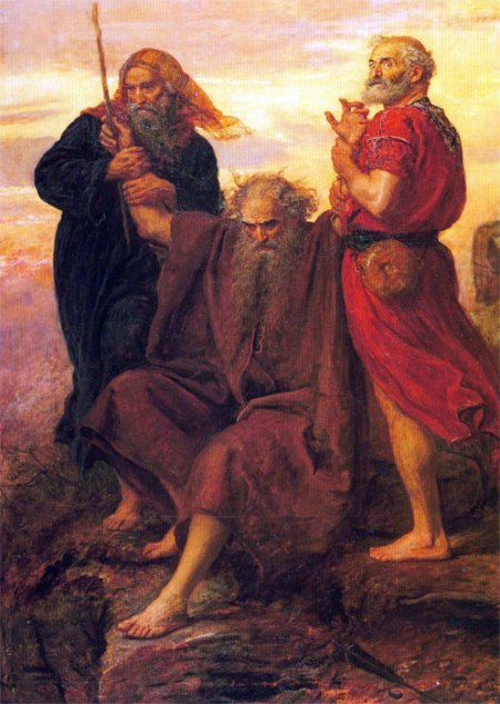 John Everett Millais: Victory, O Lord. While Joshua was fighting the Amalekites, Moses had to stand with his arms upraised. But he got tired, so Aaron and Hur sat him down and lifted his arms up for him. What power there is in a liturgical act!