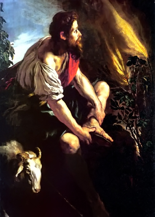 Domenico Fetti, c. 1614: Moses Before the Burning Bush