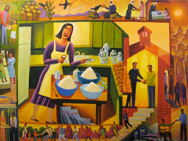 James B. Janknegt: Parable of the Leaven. The Feeding of the Multitude is depicted in the upper left, and from there bread gets shared in a variety of ways; birds even carry it to feed people.