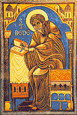 Why do we call Bede the Venerable? People called him that in his lifetime, because it wasn't right to call him a saint yet, but they knew he would become one. (iconographer unknown)