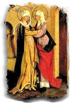 Mary and Elizabeth were cousins; their sons John and Jesus were too. (artist unknown)