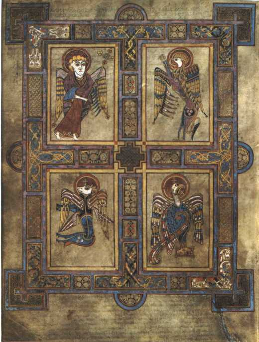 Kells Folio, Irish, circa 800: The Four Evangelists. In the upper left, an angel carries Aaron's staff budding trefoils, a symbol of the Trinity.
