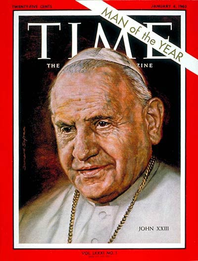 """Angelo Roncalli, known as """"Good Pope John,"""" was widely assumed to be a caretaker when he was elected at age 77 after the long reign of Pius XII. But in the first year of John's pontificate he called Vatican II, an ecumenical council which transformed all of Christianity for the 20th century. (Time magazine)"""