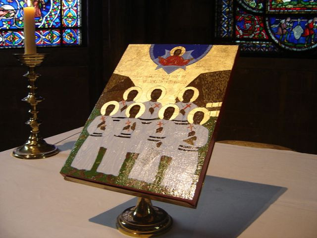Icon of the Martyrs of the Melanesian Brotherhood at Canterbury Cathedral.