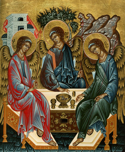 After Rublev: Angels at Mamre, a copy of one of the most famous icons in the world, depicting the Holy Trinity.