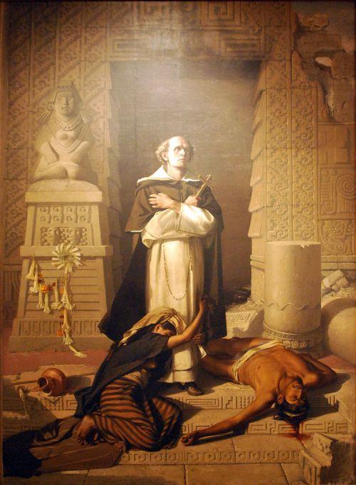 Felix Parra, 1875: Bartolomé de las Casas, seen as saving the Indian peoples of Latin America from genocide and slavery. He was a fiery Spaniard who ministered in the Dominican, Venezuela and México. (Museo Nacional de Arte, México City)