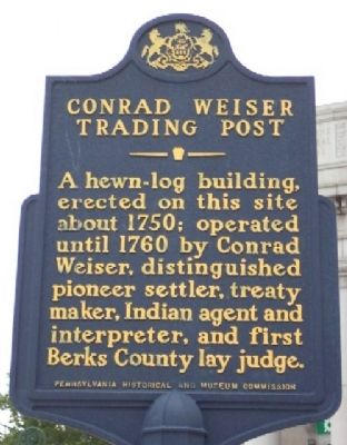 Like a lot of American colonists, Weiser took many jobs and made money whatever way he could. He emigrated from Germany, settled in Berks County, Pennsylvania, was troubled by violence between the settlers and Native American Indians, learned the Iroquois language and served as a diplomat and peacemaker, as well as adviser to William Penn and Benjamin Franklin. Of Lutheran descent, he joined the Seventh-Day Baptist movement and took up residence for a time at Ephrata Cloister.